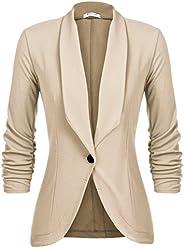 Beyove Women's 3/4 Ruched Sleeve Open Front Lightweight Work Office Blazer Ja