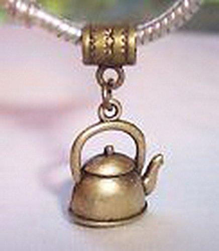 Glamorise Beads #14253 Tea Kettle Teapot Pot Kitchen Bronze Dangle Bead fits European Charm Bracelets