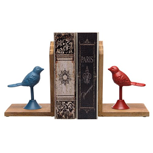 2 Pack Cast Iron Bird Mirrored Wood Bookends For Shelves Set Decorative Metal Animal