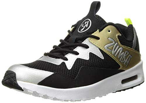Zumba Women's Air Classic Fashion Dance Workout Shoes with Max Impact Protection, Gold/Black, 9.5 Regular US