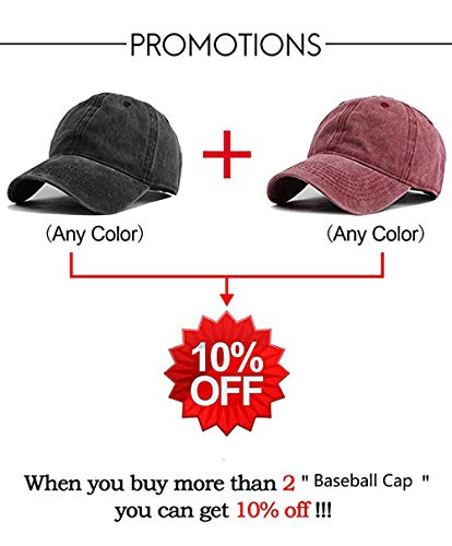 9c5e96ecccb Vocanbomor Unisex Washed Twill Cotton Baseball Cap Vintage Distressed Plain  Adjustable Dad Hat