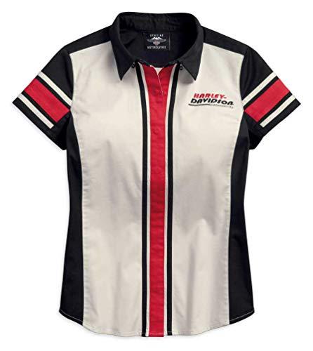 Woven Vertical Stripe Shirt (Harley-Davidson Women's Vertical Stripe Colorblock Woven Shirt 96203-18VW (L))