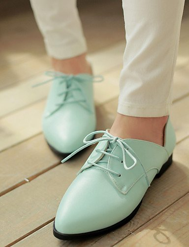Zapatos Semicuero us8 Negro us8 Hug White Azul Mujer Puntiagudos Eu39 Cn39 Blue Oxfords Plano Tacón Uk6 Blanco De Zq Casual 5qzA6x