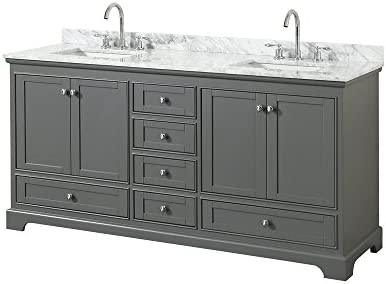 Wyndham Collection Deborah 72 inch Double Bathroom Vanity in Dark Gray, White Carrara Marble Countertop, Undermount Square Sinks, and No Mirror