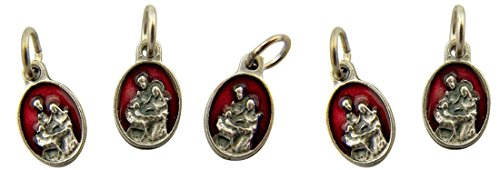 Red Enamel Holy Family Pray for Us Medal Charm Pendant, Set of 5, 5/8 Inch (Holy Pendant Family)