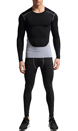 Findci Long Sleeve Shirt Tight Trousers Mens Quick Dry Smooth Tracksuit Running Sports Suits