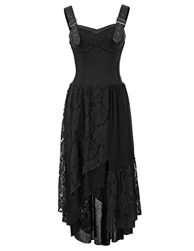 Women Steampunk Sleeveless Dress Gothic Victorian Lace Dress Black Large