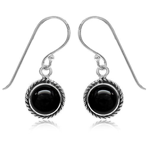 10MM Created Round Shape Black Onyx 925 Sterling Silver Rope Dangle Hook Earrings ()