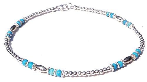 DAMALI Handmade Sterling Silver Blue Turquoise Gemstone Beaded Anklet Decmeber Birthstone (Handmade Beaded Gemstone Jewelry)