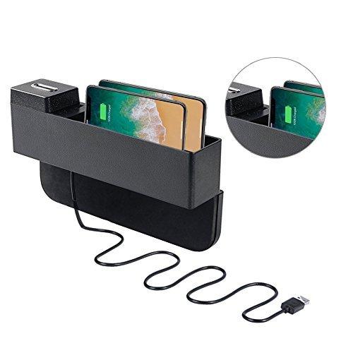 Boî te de Rangement de la Console Anti-slide, organisateur de Voiture avec Porte-Monnaie et 2 Ports USB Remplisseur d'espace de Siè ge pour Té lé phones, Clé s, Cartes, Portefeuilles, Piè ces de Monnaie Clés Dr.Auto