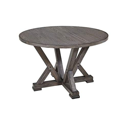 Progressive Furniture Complete Round Dining Table in Distressed Harbor Gray