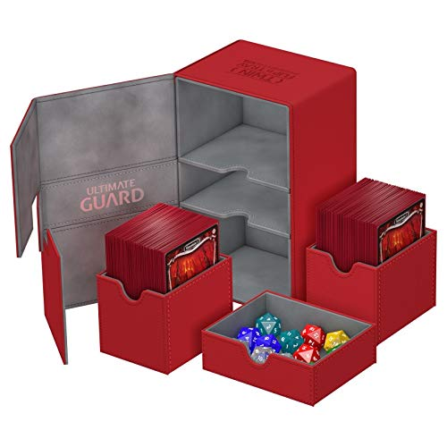 Red Ultimate Guard XenoSkin 200+ Twin Flip n Tray Deck & Dice Case -