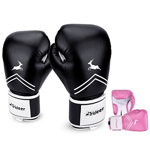 12 Ounce Boxing Gloves - Trideer Essential GEL Boxing Kickboxing Training Gloves (Black & White, 12 oz)