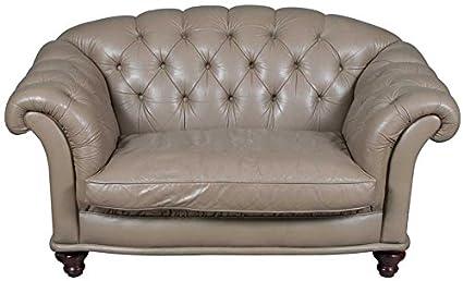 122d98d405c9 Amazon.com  Antique Style Parchment Buttoned Leather Loveseat ...