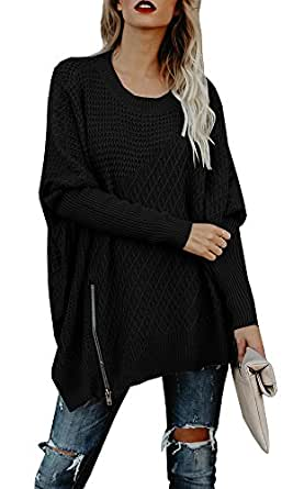 Ofenbuy Womens Oversized Sweaters Batwing Sleeve Round Neck Patchwork Cable Knit Pullover (Small, Black)