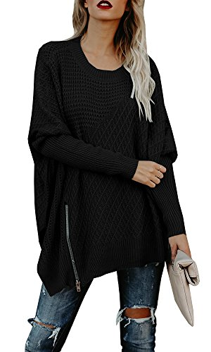 Beautife Womens Oversized Knitted Sweater Casual Crewneck Long Batwing Sleeve Jumper Pullover (X-Large, Black) (Long Black Jumper)