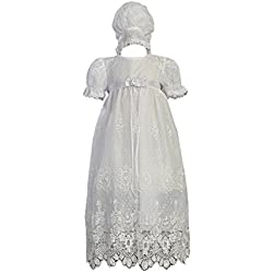White Embroidered Tulle Lace Christening Baptism Gown - Size L (12-18M)