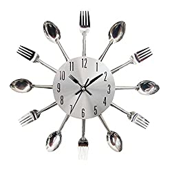 New DIY Novel Large Cutlery Spoon Fork Clock Wall Clock Living Room Kitchen Dining Room Wall Decor Wall Clock