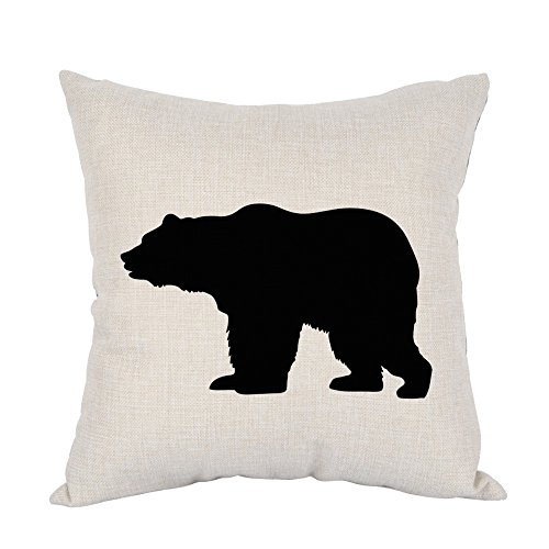 Moslion Bear Pillow,Home Decor Throw Pillow Cover Black Bear Cotton Linen Cushion for Couch/Sofa/Bedroom/Livingroom/Kitchen/Car 18 x 18 inch Square Pillow case ()