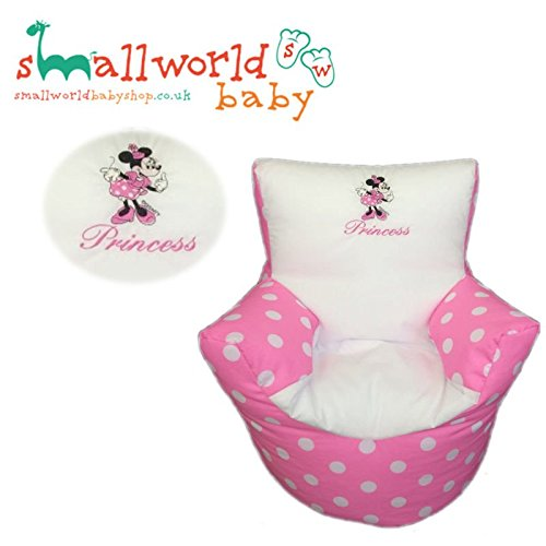 CHILDRENS KIDS TODDLER PRE FILLED PERSONALISED BEAN BAG CHAIR SEAT MINNIE MOUSE GIRLS BOYS (NEXT DAY DISPATCH) Small World Baby Shop