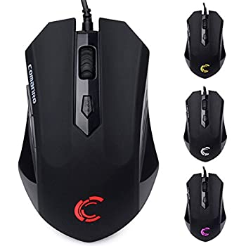 COMANRO USB Wired Gaming Mouse, 2400 DPI Ergonomic Computer Mice PC Mouse , 5 Buttons and 4 Cool LED Backlit for Laptop PC Computer, Black