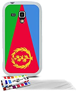 """Carcasa Flexible Ultra-Slim SAMSUNG GALAXY S DUO de exclusivo motivo [Eritrea Bandera] [Blanca] de MUZZANO  + 3 Pelliculas de Pantalla """"UltraClear"""" + ESTILETE y PAÑO MUZZANO REGALADOS - La Protección Antigolpes ULTIMA, ELEGANTE Y DURADERA para su SAMSUNG GALAXY S DUO"""
