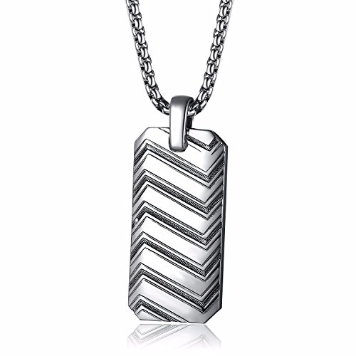 Caperci 925 Sterling Silver Zig Zag Pattern Dog Tag Pendant Necklace for Men, 28'' (Pendant Silver Dog Tag Charm)