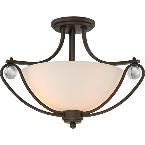 Quoizel AML1717OZ Amelia 2-Light Etched Glass Semi-Flush Mount in Old Bronze (Stained Quoizel Glass Chandelier)