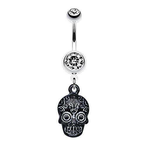 Bazooky Vibrant Mayan Tribal Skull Belly Button Ring (Many Colors) (Clear/White) - Gold Skull Labret