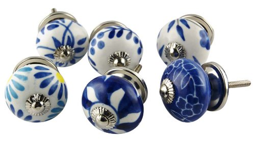 Ceramic pottery cabinet knob drawer pulls furniture handles Jay Knopf- set of 6 knobs-6er-Jodhpur_A50006-E-6er-blue