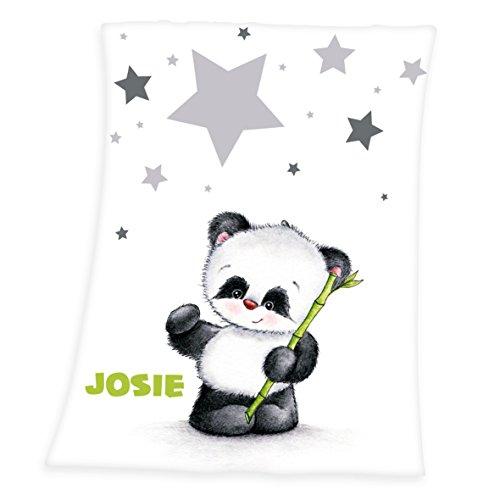 Wolimbo Flausch Babydecke mit Ihrem Wunsch-Namen und Pandabär Motiv - personalisierte / individuelle Geschenke für Babys und Kinder zur Geburt, Taufe und Geburtstag - 75x100 cm für Mädchen und Jungen