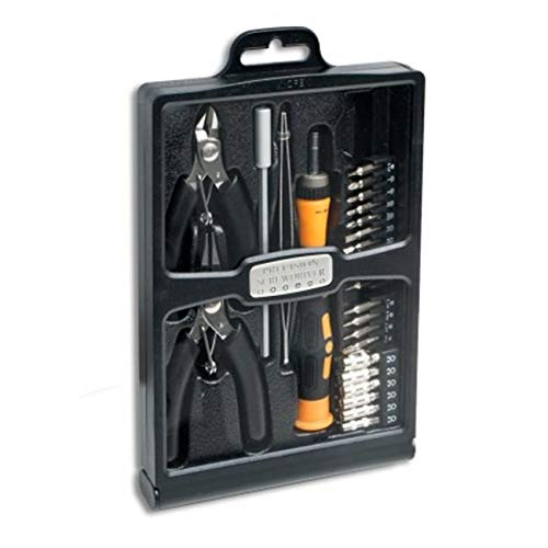 Accessory 32 Piece Hobby Tool Kit Housed in a Black Slim Handsome Fold-Out Case from SkilledPower