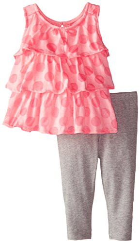 Nicole Miller Baby Girls' Tiered Ruffle Tunic with Legging Set, Azalea Pink, 12 Months (Nicole Spandex Tunic)