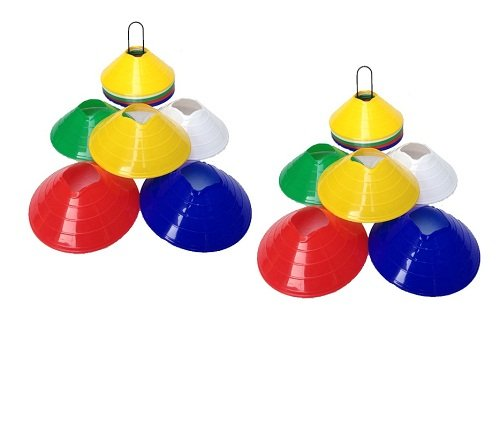 CW Set of 100 Agility Disc Track&Field Marker Cones with Holder Perfect for Soccer,Football ,kids,Training&And any Ball Game to Mark Disc Mini Training Cones - Field Marker ''2 inch'' by C&W