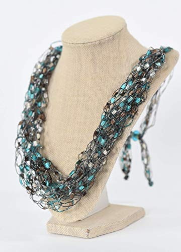 Adjustable LIGHTWEIGHT Soft Crochet Yarn Necklace Scarf- Color Spa ()