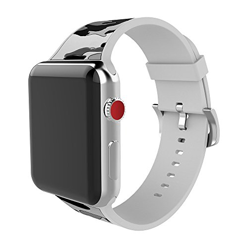 MITERV Compatible Watch Band 42mm Soft Silicone Replacement Band for Watch Series 3 Series 2 Series 1