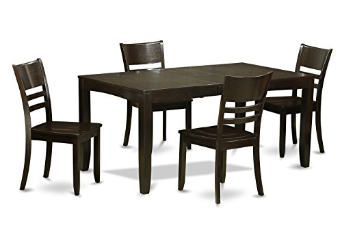 - East West Furniture LYFD5-CAP-W 5-Piece Dining Room Table Set, Cappuccino Finish