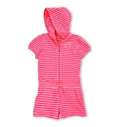 (Juicy Couture Girls Pink Striped Soft Terry Hooded Romper (4)