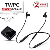 Avantree HT4186 Wireless Neckband Headphones Earbuds for TV Watching & PC with Bluetooth Transmitter Set, for Optical Digital Audio, RCA, 3.5mm AUX Ported TVs, Plug & Play, No Delay, Long Range