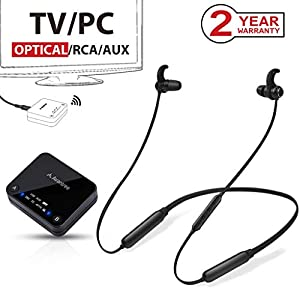 Avantree HT4186 Cuffie Wireless Auricolari a Collana Senza Fili per TV, PC con Trasmettitore Bluetooth, per Audio Ottico… 2 spesavip
