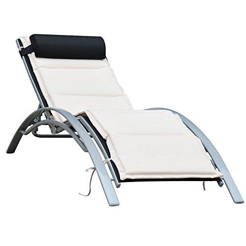 Outsunny Sonnenliege Gartenliege Gartenstuhl Relaxsessel Liegestuhl Aluminium, schwarz, 170x64x82 cm, 01-0705