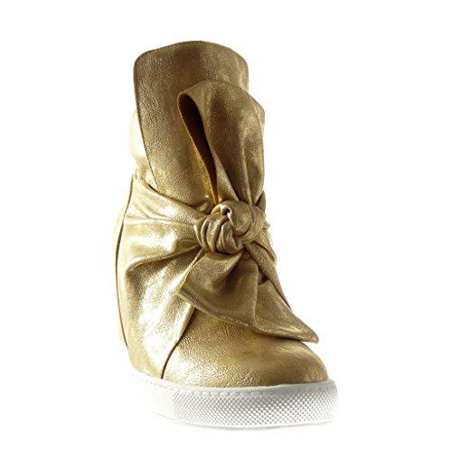 Angkorly - Chaussure Mode Basket Compensée femme noeud papillon brillant Talon compensé 9 CM - Or