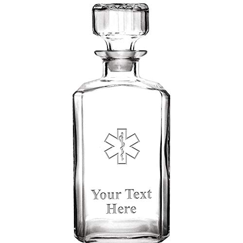 Personalized Whiskey Decanter, 33.75 oz Engraved EMS Star of Life Custom Glass Decanter Medical Gift With Your Own Text Included Prime by Crown Awards (Image #4)