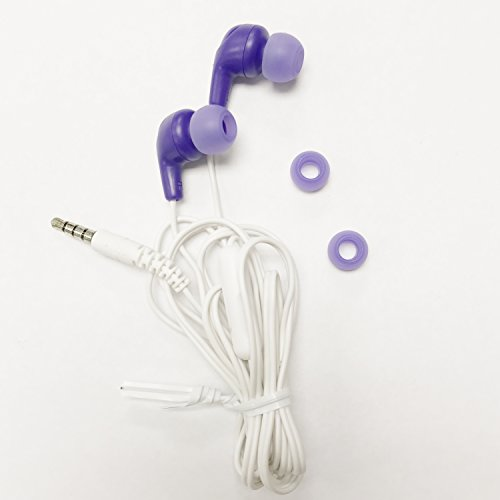 JVC Gumy Plus in-Ear Earbud Headphones Microphone, Purple, FX65M-V (Non-Retail Packaging) -