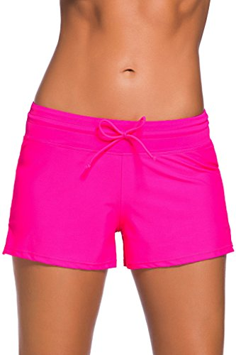 - FIYOTE Women Comfort Bikini Boardshort Swimsuit Bottom with Adjustable Ties (XL, Rosy)