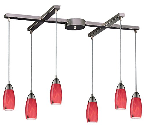 Milan 6 Light Pendant in Satin Nickel and Fire Red - Milan Red Fire Art