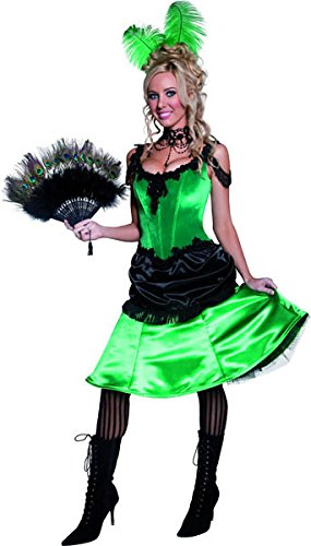 [Smiffy's Women's Authentic Saloon Girl Dress, Green/Black, Medium] (Authentic Western Saloon Girl Costume)