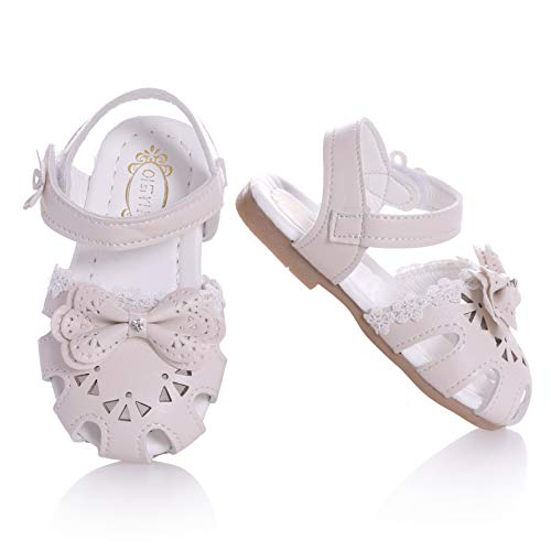 Toddler Baby Girls Summer Princess Soft Leather Sandals Closed Toe Flat Shoes (White, 22/7M US toddler)