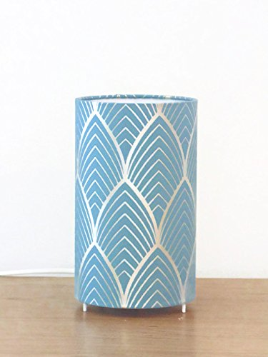 lámpara Art Deco - azul y plata - idea de regalo cumpleaños ...