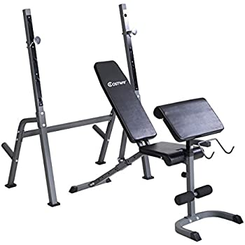 Goplus Adjustable Weight Bench Lifting Flat Equipment Multi-Purpose Utility Bench w/Rack Set Fitness Barbell Dumbbell Workout